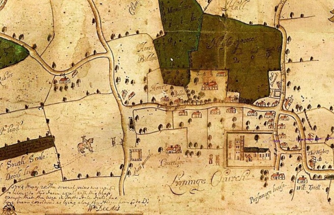 Thomas Hill's map of Lyminge detail