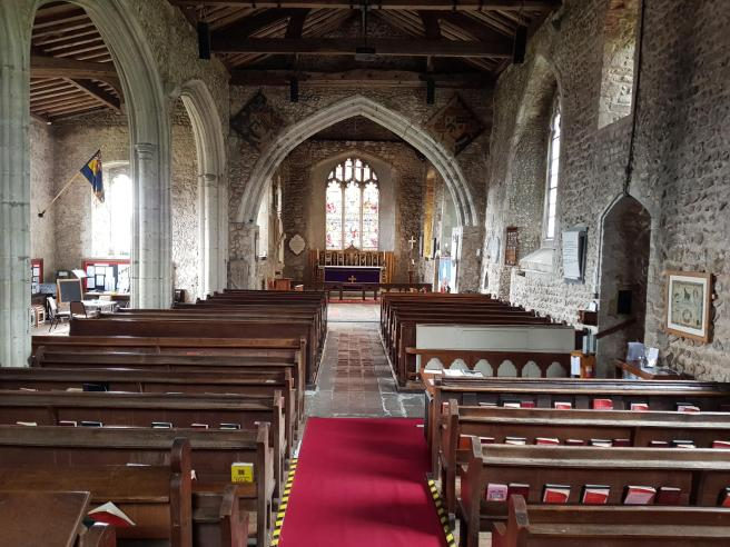 Lyminge church interior from tower looking east