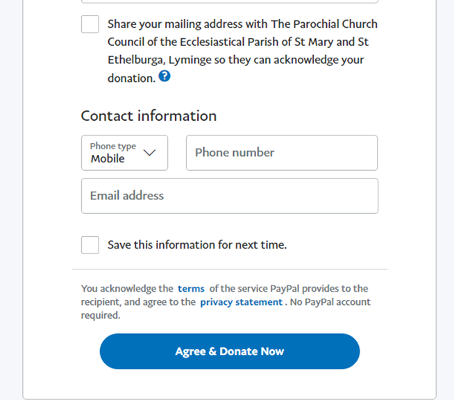 PayPal Gift Aid address